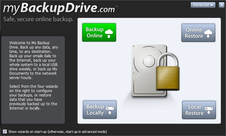 Backup your data online with My Backup Drive.